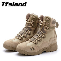 Tfsland Winter Men Military Tactical Combat Boots Male Sports Outdoor Army Desert Snow Boots Hiking Shoes New Leather Sneakers