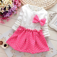 Newborn Baby Girls Dress Cotton Princess Winter Dress Baby Girls Warm Long Sleeve Bowknot Party Dresses 25@LJZ = 1930166724