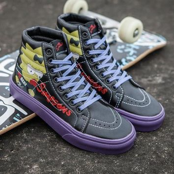 Vans X Peanuts SK8-Hi Simpsons Leather Flats Ankle Boots Sneakers Sport Shoes