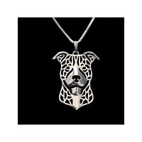 Smiling Pit Bull Silver Plate or 14k Gld Plate Necklace - Proceeds Go to Pit Bull Rescue