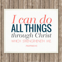 I Can Do All Things Scripture Art, Scripture Print, Instant Download, Praise and Worship, Bible Verse Printable, Coral and Navy