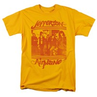 Jefferson Airplane Men's  Group Photo T-shirt Gold