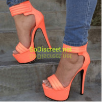 """Heather"" Open Toe Platform Stiletto Sizes 5-11 1/2 Available"