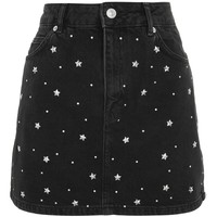 MOTO Star Stud Denim Skirt | Topshop