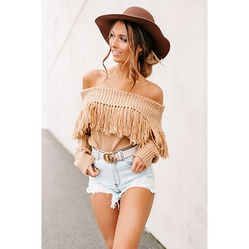 It's No Hassle Tassel Sweater (Taupe)