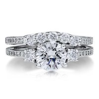 BERRICLE Sterling Silver Round Cubic Zirconia CZ 3 Stone Womens Engagement Wedding Ring Set