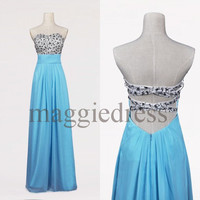 Custom Formal Beaded Long Prom Dresses Evening Gowns Formal Party Dress Bridesmaid Dresses 2014 Formal Wear Cocktail Dresess Formal Wear