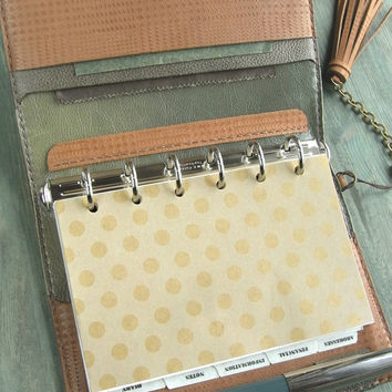 handstitched leather binder -  vegetable tanned, natural color, planner, day timer, plaid cover, refillable journal, for filofax refills