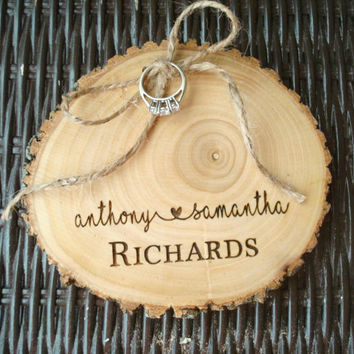 Wedding Ring Holder, Wood Slice, Wood Ring Holder, Wedding Ring Alternative Pillow, Engraved Wood Slice, Rustic Wedding, Rustic Ring Holder