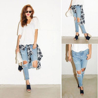 MACHINE JEANS RIPPED DISTRESSED DESTROYED BOYFRIEND CROPPED WOMEN ACID WASHED = 5709432385