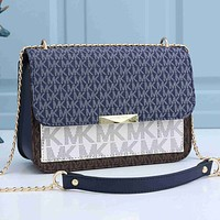 MK Hot sale stitching color letter printing ladies two messenger bags shopping shoulder bag