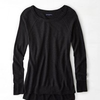 AEO Waffle-Knit Sweater, Charcoal | American Eagle Outfitters