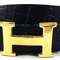 Hermes Black Alligator Leather Belt