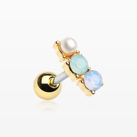 Golden Dainty Pearlescent Opalite Sparkle Cartilage Tragus Earring