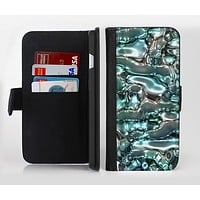 The Teal Mercury Ink-Fuzed Leather Folding Wallet Credit-Card Case for the Apple iPhone 6/6s, 6/6s Plus, 5/5s and 5c