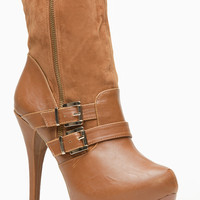 Liliana Tan Leatherette and Suede Calf Length Double Buckle Bootie
