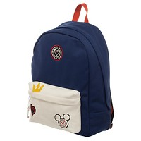 Kingdom Hearts Bag  Navy Blue and White Backpack with Kingdom Hearts Patches