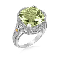 18K Yellow Gold and Sterling Silver Cushion Green Amethyst Ring (.09 ct. tw.): Size 6