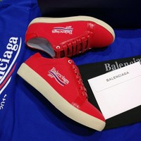 Best Online Sale 2017 New BaLenciaga Flat Shoes Embroidered Linen Shoes - Red