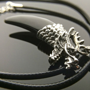 Black Onyx Necklace - Crystal Necklace Dragon Necklace Steampunk Jewelry Obsidian Necklace Mens Necklace Unisex Jewelry