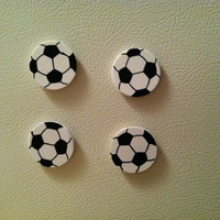 Sporty Soccer Magnets  Set of 4 by WhimsyWoodcrafts on Etsy
