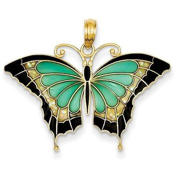 14K Aqua Stained Glass Wings Butterfly Pendant with Acrylic K4229
