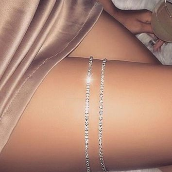 1 Pcs Sexy Women Gold-Color Crystal Leg Bracelet Thigh Body Bikini Beach Harness Summer Leg Chain Jewelry