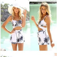 Backless Sexy Print Bamboo Romper