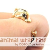 Realistic Dolphin Animal Wrap Around Hug Ring in Gold Sizes 4 to 7