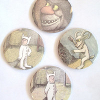 Where The Wild Things Are Storybook DRINK COASTERS Sendak Upcycled Set of 4 Round Made from Actual book Pages