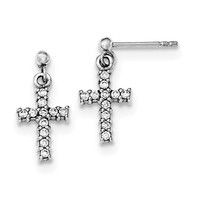 Sterling Silver Rhodium-plated CZ Cross Post Dangle Earrings QE12942