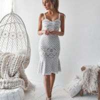Explosion models women's sexy hanging lace dress White