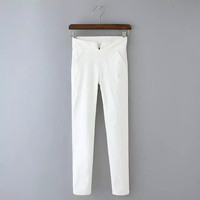 Plain Stretch Pencil Pants