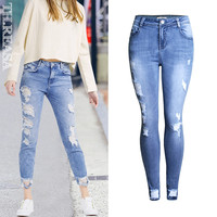Jeans Ripped Holes Skinny Pants [11474124623]