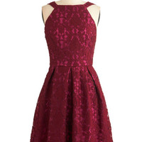 ModCloth Long Sleeveless A-line Inspiring Atmosphere Dress in Berry
