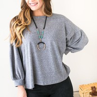 Flirt and Finesse Dollman Sleeve Top- Grey