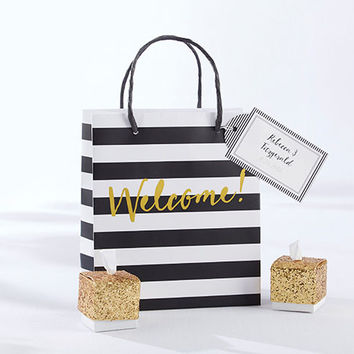 Black And White Striped Welcome Bag (Set of 12)