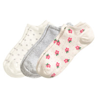 H&M - 3-pack Ankle Socks - White/Floral - Ladies