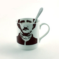 Edgard Allan Poe Mug Bone China Tea or Coffee Portrait Poet Writer