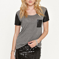 Kirra Faux Leather Short Sleeve Top at PacSun.com
