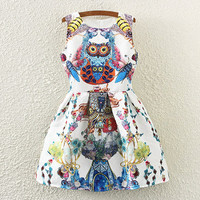 Owl And Flies Print Sleeveless Pleated Dress