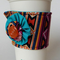 Tribal Print Coffee Cup Cozy , Indian Inspired Drink Sleeve , Southwestern , Boho , Bohemian , Fabric Cup Cozy , Turquoise , Ikat , Yoyos