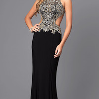 Jewel Embellished Cut Out Back Long Prom Dress