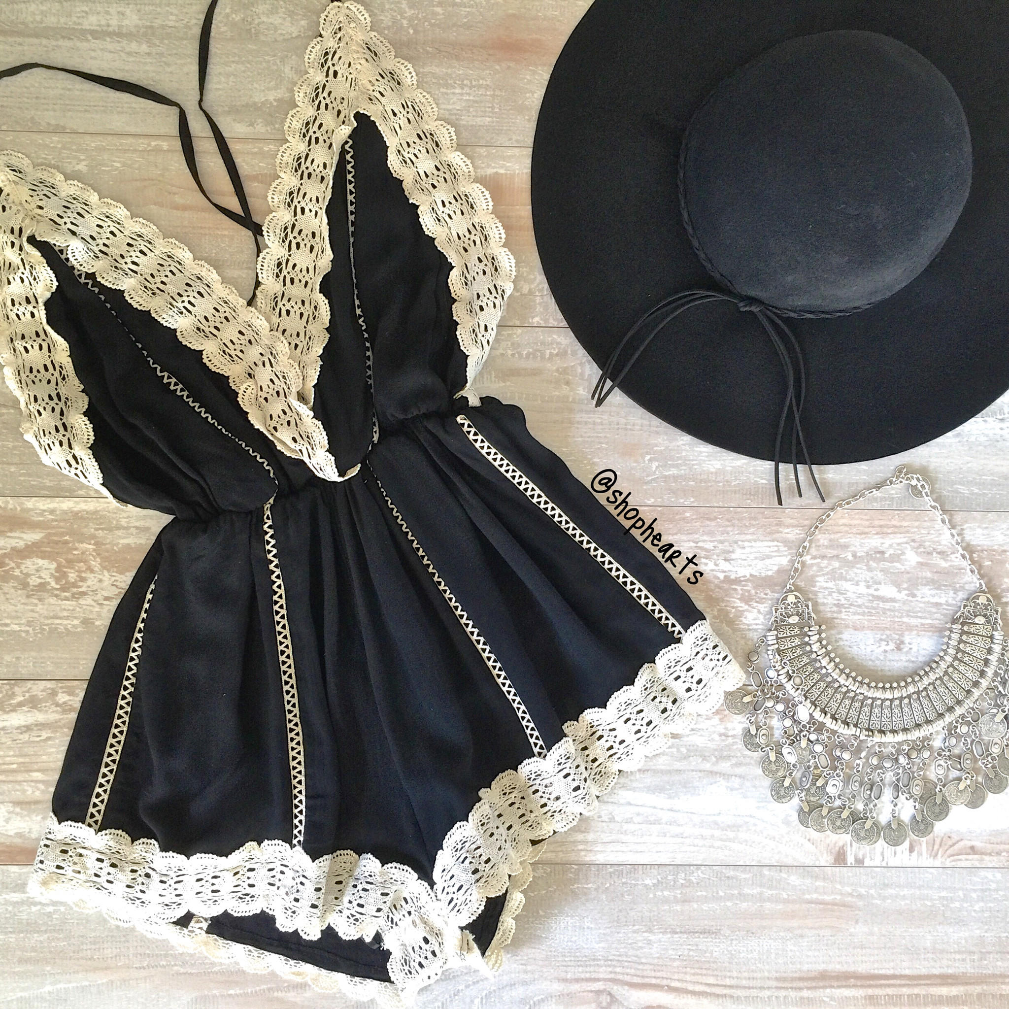 Image of black gypsy lace romper