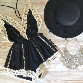 black gypsy lace romper