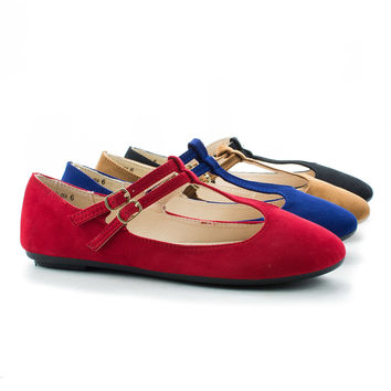 Reversal05A T-Strap Double Buckle Extra Padded Insole Ballet Flats