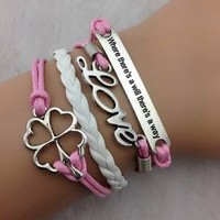 Vintage Style Pink Leather Rope Love Letters Four Leaf Clover Love Bracelet:Amazon:Jewelry