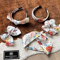 Balenciaga Women'S Floral Print Rubber Band Hair Tie White And Colorful