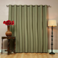 """Olive Wide Width Basic Solid Grommet Thermal Insulated Blackout Curtains 100""""""""W X 84""""""""L"""