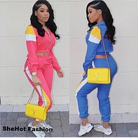 Women Casual Color Patchwork Two Piece Tracksuit Crop Top Jacket Pant Set